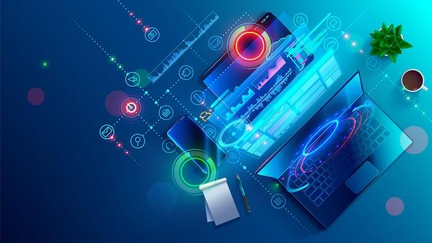 Erstellen von software und website für verschiedene digitale plattform-desktop-pcs, laptops, tablets, telefone. Premium Vektoren