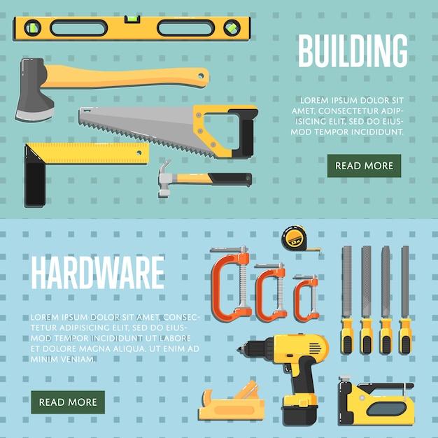 Erstellen von tools-website-vorlagen für den shop Premium Vektoren