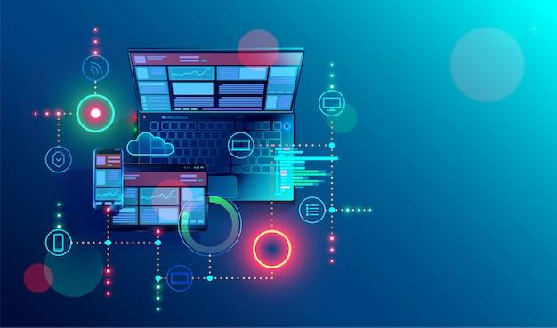 Erstellung einer reaktionsschnellen internet-website für mehrere plattformen. aufbauend mobile schnittstelle auf dem bildschirm des laptops Premium Vektoren
