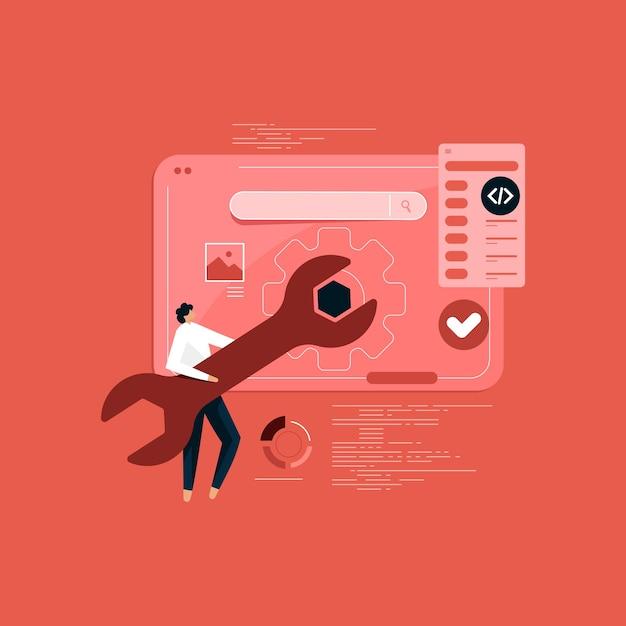Erstellung und einrichtung einer reaktionsschnellen internet-website-oberfläche für mehrere plattformen, konzeptionelles banner der web-technologie Premium Vektoren