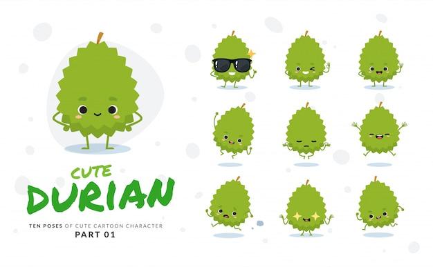 Erster satz von comic-bildern von durian. Premium Vektoren