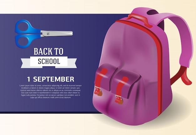 Erster september, zurück zu schulplakatdesign mit rucksack Kostenlosen Vektoren