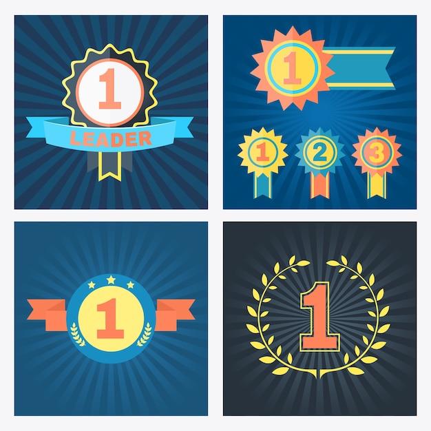 Erster zweiter und dritter platz vektorpreise mit rosettenbändern banner und kranz mit den nummern 1 2 und 3 Kostenlosen Vektoren