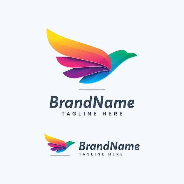 Erstklassige farbe eagle logo design template bunte abstrack Premium Vektoren