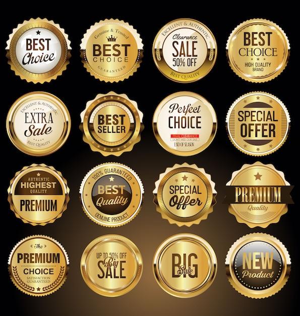 Erstklassige goldene abzeichen und kennsatzfamilie Premium Vektoren