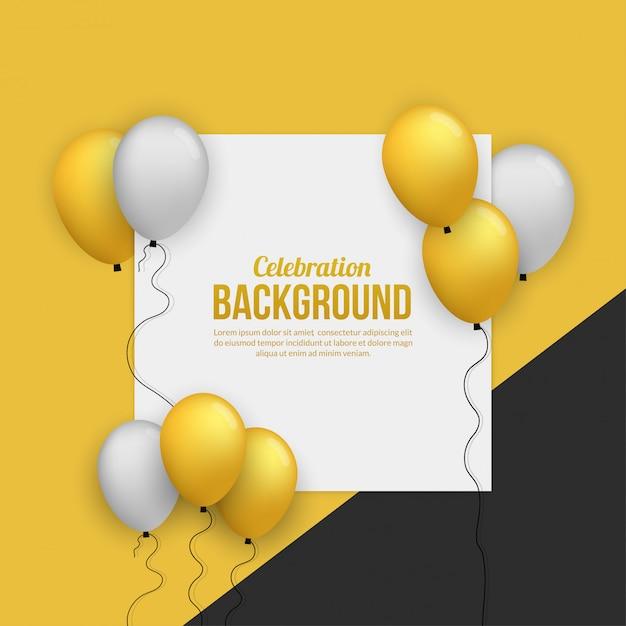 Erstklassige goldene ballonkarte für geburtstagsparty, abschluss, feierereignis und feiertag Premium Vektoren