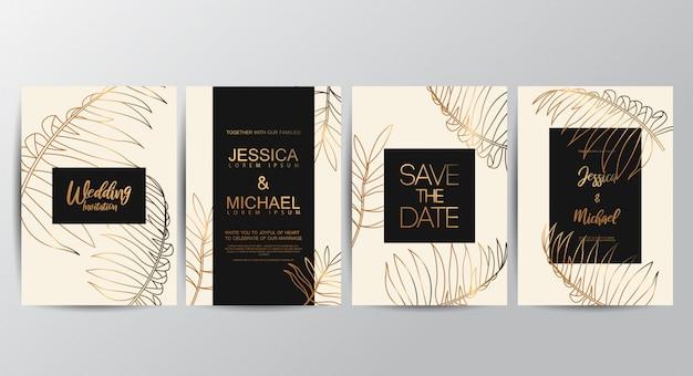 Erstklassige luxus-hochzeitseinladungskarten Premium Vektoren
