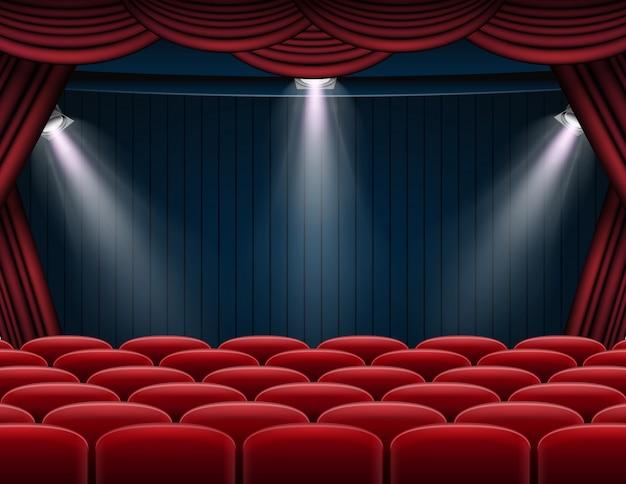 Erstklassiger roter vorhangstadiums-, theater- oder opernhintergrund mit scheinwerfer Premium Vektoren