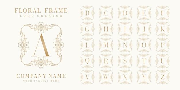 Erstklassiges bedge-logo mit floralem rahmen Premium Vektoren