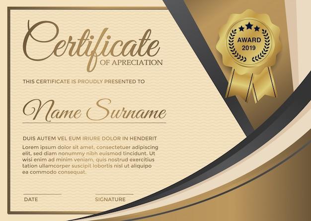 Erstklassiges goldenes zertifikat-schablonendesign. Premium Vektoren