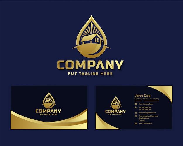 Erstklassiges luxus-natur-öko-logo mit echtem staatsgebäude Premium Vektoren