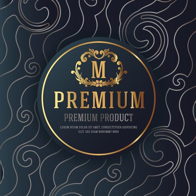 Erstklassiges luxusverpackungs-design mit heraldischem emblem-aufkleber Premium Vektoren