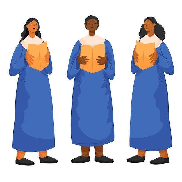 Erwachsene, die zusammen in einem gospelchor singen Kostenlosen Vektoren