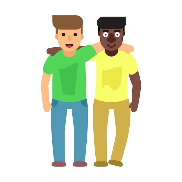 Erwachsene jungs, zwei beste freunde. flache abbildung der freundschaft Premium Vektoren