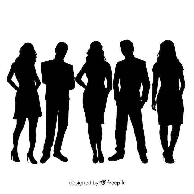 Erwachsene leute silhouettieren hintergrund Kostenlosen Vektoren