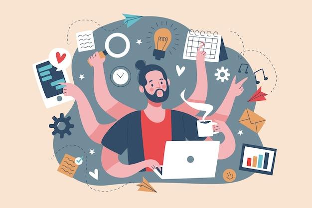 Erwachsener mann multitasking-konzept Kostenlosen Vektoren