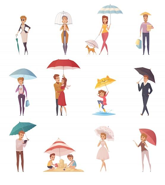 Erwachsenleute und -kinder, die unter regenschirm der verschiedenen dekorativen ikonen der form und der größe eingestellt werden Kostenlosen Vektoren