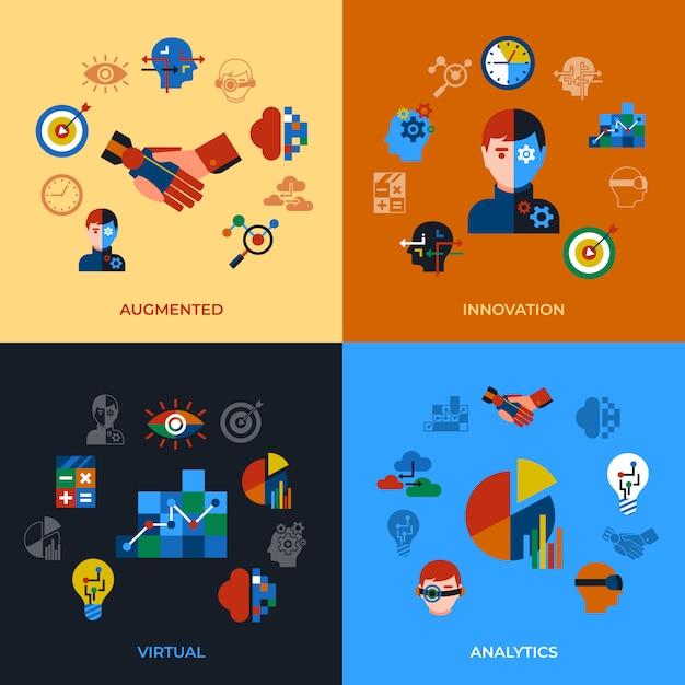 Erweiterte analyse- und innovationstechnologieikonen eingestellt Premium Vektoren