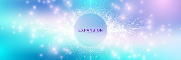 Erweiterung des lebens. bunter explosionshintergrund mit verbundener linie und punkten, wellenfluss. Premium Vektoren