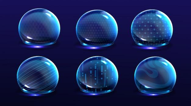 Erzwinge schildblasen, energieglühende kugeln oder verteidigungskuppelfelder. science fiction verschiedene deflektorelemente, firewall absoluter schutz isoliert Kostenlosen Vektoren