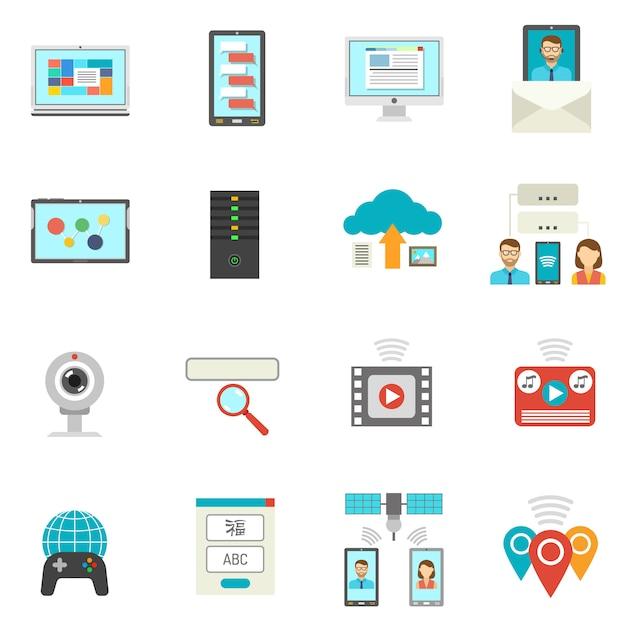 Es flache icons set Kostenlosen Vektoren