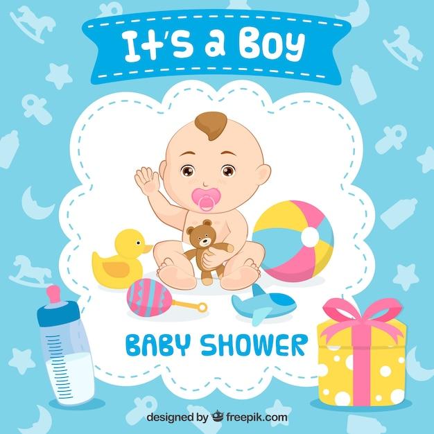 Es ist ein junge-baby-dusche-hintergrund Kostenlosen Vektoren
