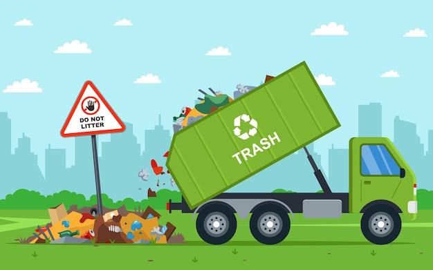 Es ist illegal, stadtmüll ins feld zu werfen. muldenkipper entlädt abfall. Premium Vektoren