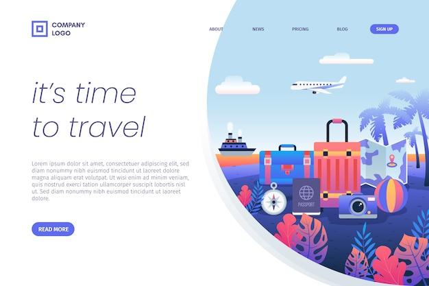 Es ist zeit, gepäck landing page zu reisen Kostenlosen Vektoren