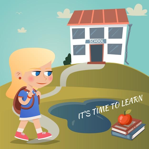 Es ist zeit, vektorillustration mit einem jungen mädchen zu lernen, das einen rucksack trägt, der einen gewundenen weg zu einem hügel auf einem hügel mit text und einem apfel auf lehrbüchern hinaufgeht Kostenlosen Vektoren
