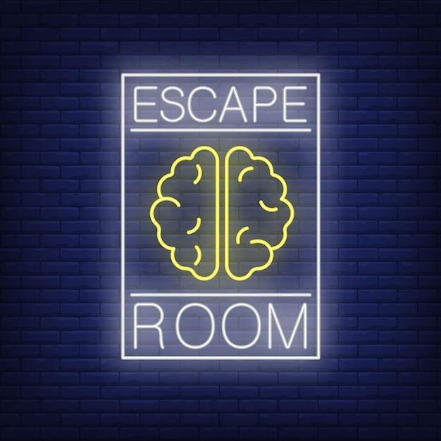 Escape room leuchtreklame. text und gehirn im rahmen auf backsteinmauer. leuchtende banner- oder plakatelemente. Kostenlosen Vektoren
