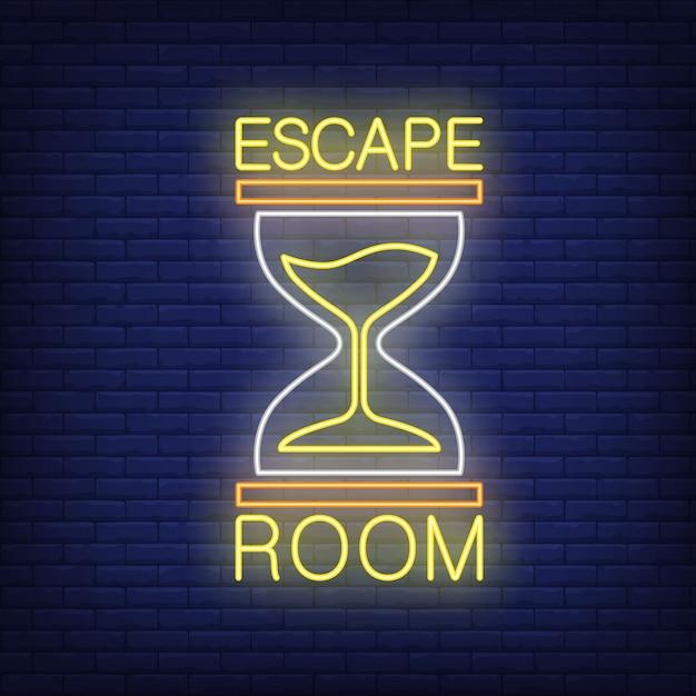 Escape room leuchtreklame. text und sanduhr auf backsteinmauer Kostenlosen Vektoren