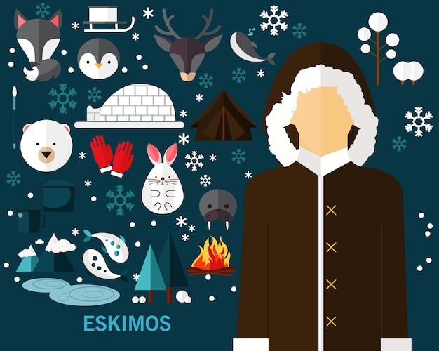 Eskimos konzept hintergrund Premium Vektoren