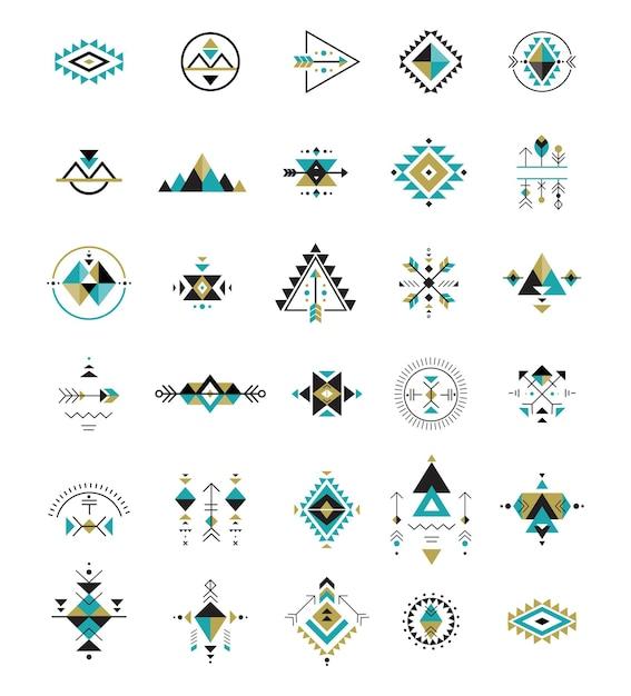 Esoterik, alchemie, heilige geometrie, stammes- und azteken, heilige geometrie, mystische formen, symbole Premium Vektoren