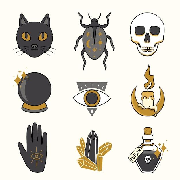Esoterische elemente schwarze katze und hexenobjekte Premium Vektoren