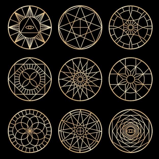 Esoterische geometrische pentagramme. spirituelle heilige mystische symbole Premium Vektoren