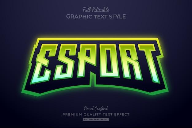 Esport gradient green bearbeitbarer texteffekt-schriftstil Premium Vektoren