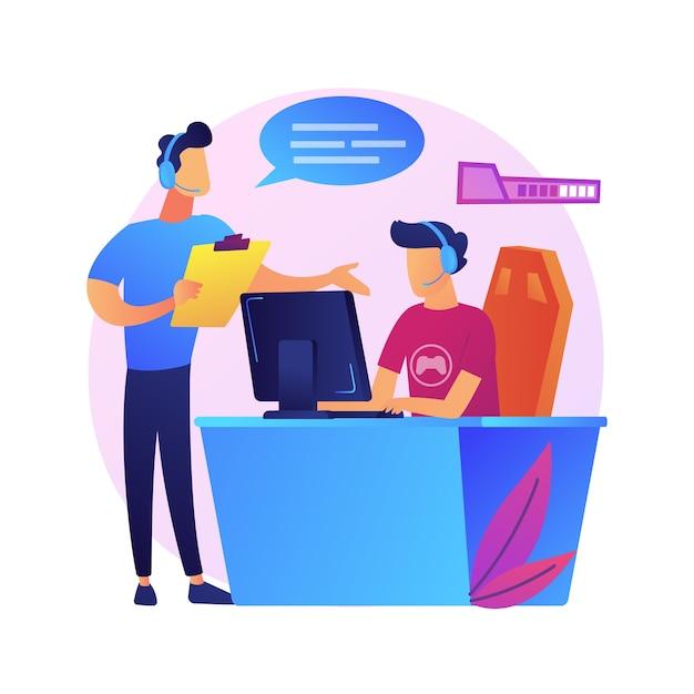 Esports coaching abstrakte konzeptillustration. lektionen mit pro-gamer, kostenlosem esport-webinar, spielerleistung, videospiel-trainingsanwendung, cybersport-team Kostenlosen Vektoren