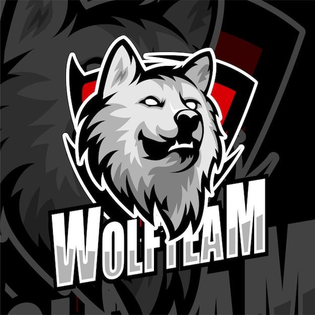 Esports gaming logo abzeichen wolf team Premium Vektoren