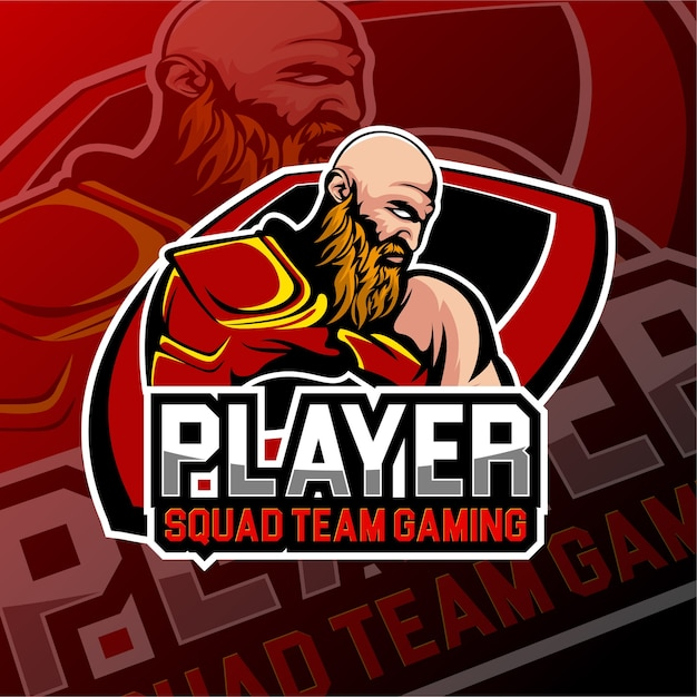 Esports gaming logo kahle schädel thema Premium Vektoren