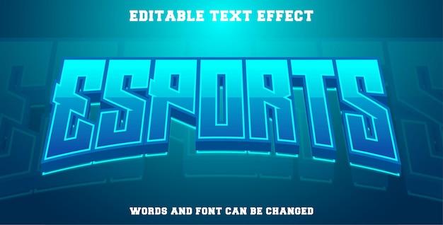 Esports text effekt cyan farbe Premium Vektoren