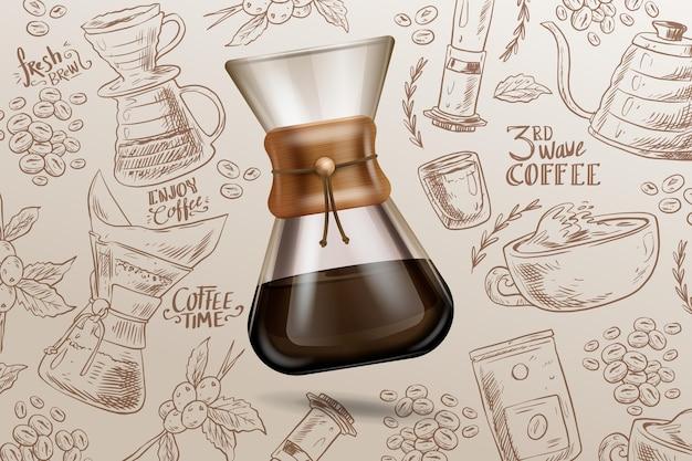 Espresso in einem schicken glas Kostenlosen Vektoren