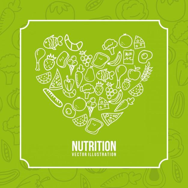 Essen auf grünem hintergrund Kostenlosen Vektoren