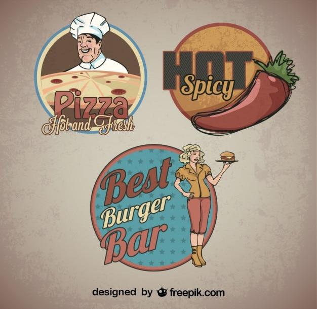 Essen aufkleber retro logo-vorlagen Kostenlosen Vektoren