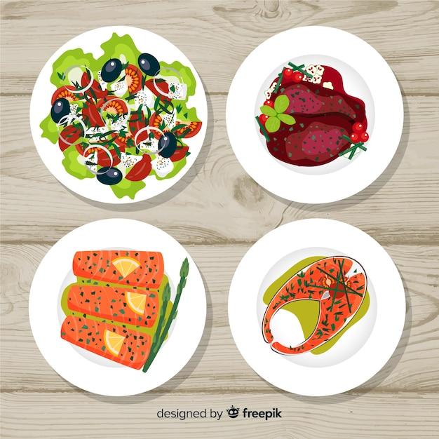 Essen-geschirr-sammlung Kostenlosen Vektoren