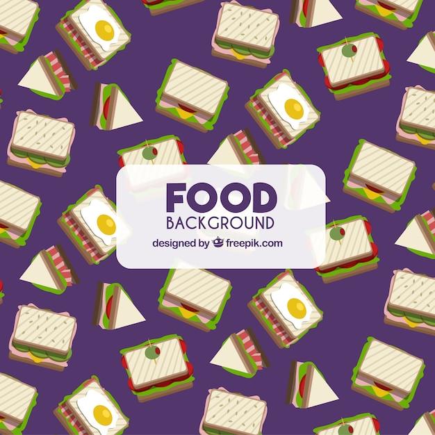 Essen hintergrund mit sandwiches Kostenlosen Vektoren