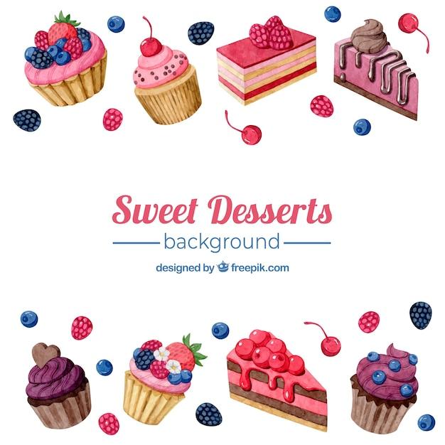 Essen Hintergrund mit süßen Desserts Kostenlose Vektoren