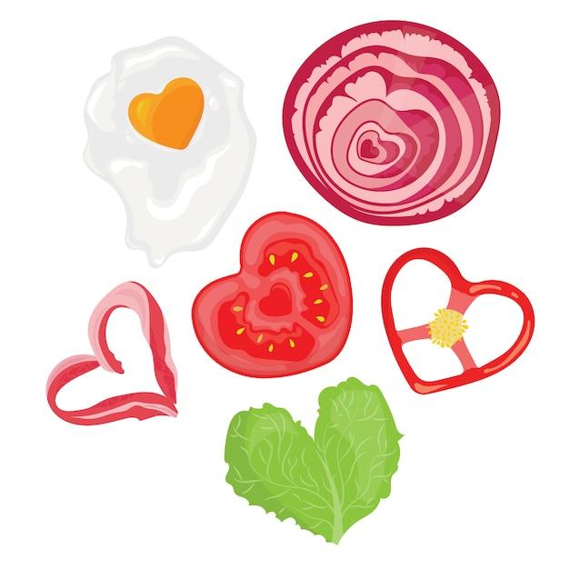 Essen in form von herzen. illustration von spiegeleiern in form des herzens. Premium Vektoren