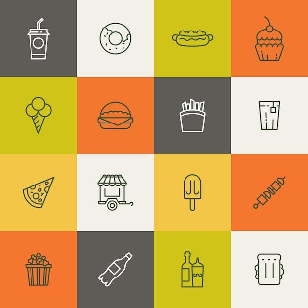 Essen lineare symbole zum mitnehmen Premium Vektoren
