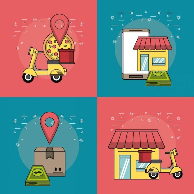 Essen online bestellen Premium Vektoren