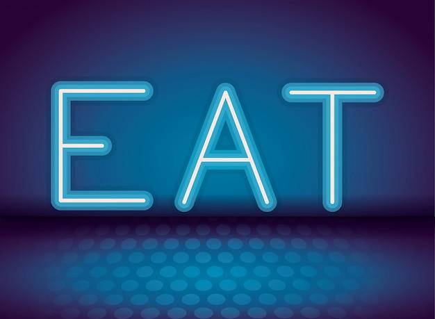 Essen sie neonwerbung Premium Vektoren